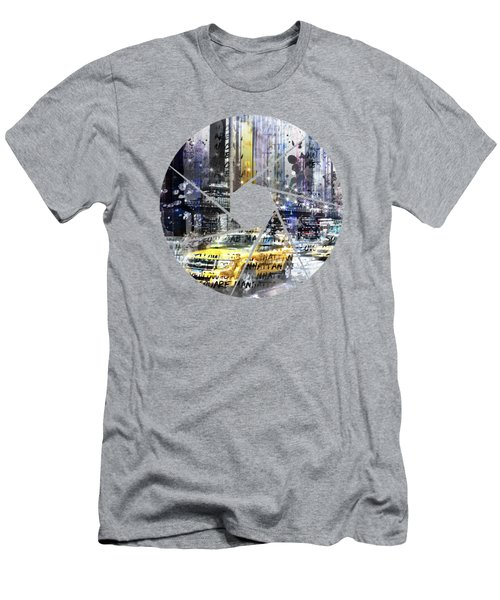 Graphic Art New York City Taxis And Manhattan Skyline Men's T-Shirt (Slim Fit) by Melanie Viola