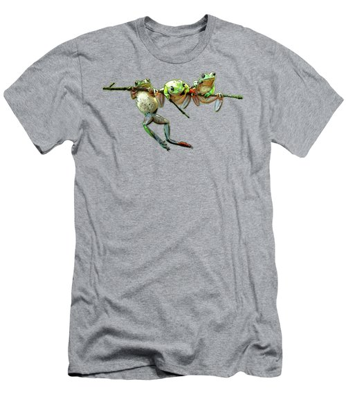 Hang In There Froggies Men's T-Shirt (Slim Fit) by Elaine Plesser