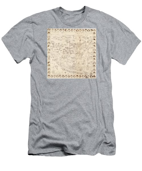 Hollywood Map To The Stars 1937 Men's T-Shirt (Slim Fit) by Don Boggs