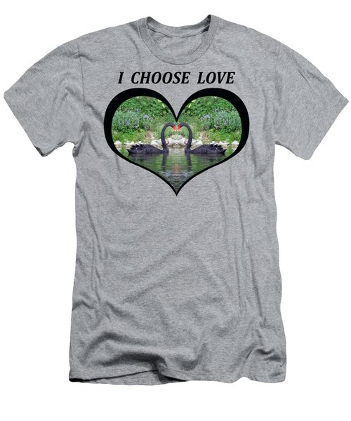 I Chose Love With Black Swans Forming A Heart Men's T-Shirt (Slim Fit) by Julia L Wright