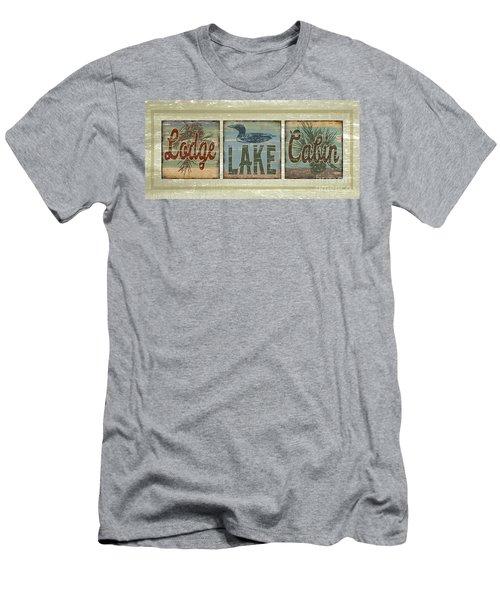 Lodge Lake Cabin Sign Men's T-Shirt (Slim Fit) by Joe Low