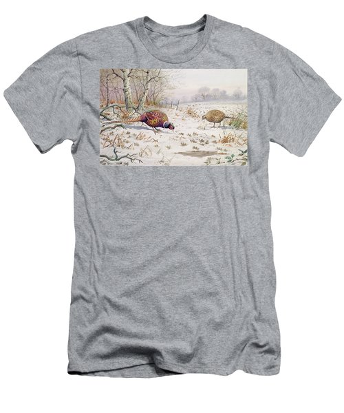 Pheasant And Partridge Eating  Men's T-Shirt (Slim Fit) by Carl Donner