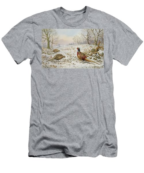 Pheasant And Partridges In A Snowy Landscape Men's T-Shirt (Slim Fit) by Carl Donner