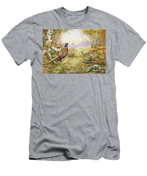 Pheasants In Woodland Men's T-Shirt (Slim Fit) by Carl Donner