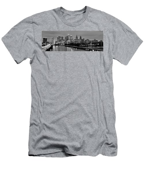 Philadelphia Philly Skyline At Dusk From Near South Bw Black And White Panorama Men's T-Shirt (Slim Fit) by Jon Holiday
