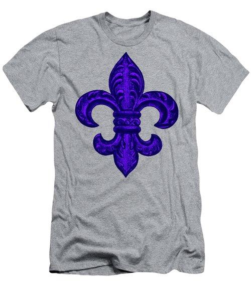 Purple French Fleur De Lys, Floral Swirls Men's T-Shirt (Slim Fit) by Tina Lavoie