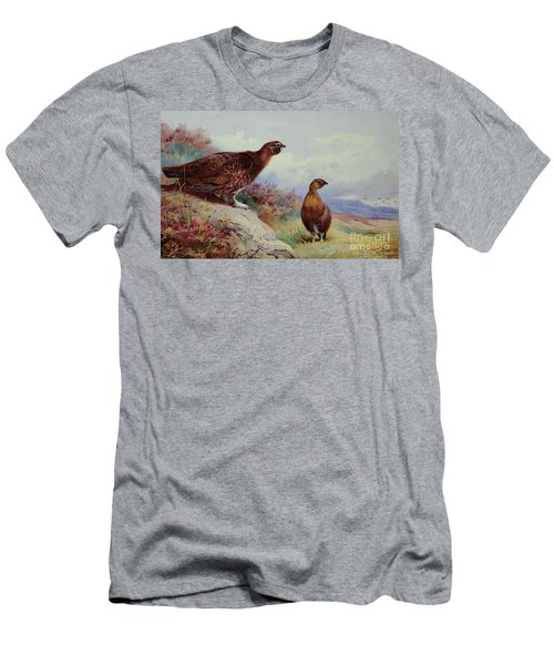 Red Grouse On The Moor, 1917 Men's T-Shirt (Slim Fit) by Archibald Thorburn
