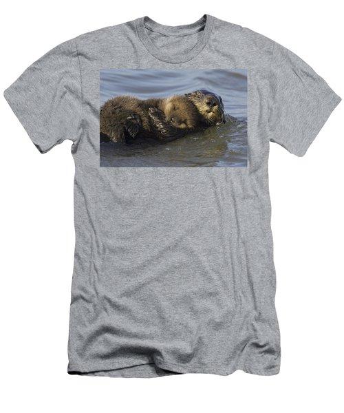 Sea Otter Mother With Pup Monterey Bay Men's T-Shirt (Slim Fit) by Suzi Eszterhas