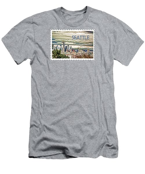 Seattle Skyline In Fog And Rain Text Seattle Men's T-Shirt (Slim Fit) by Elaine Plesser