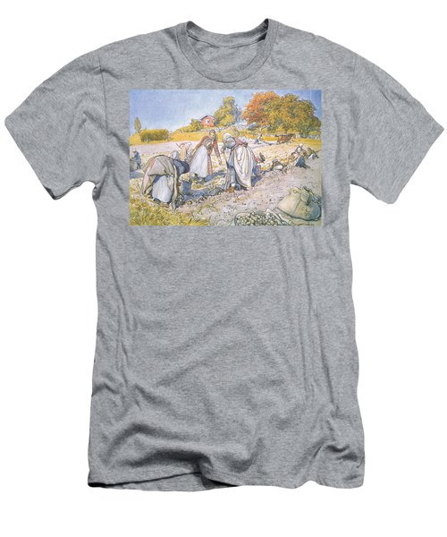The Children Filled The Buckets And Baskets With Potatoes Men's T-Shirt (Slim Fit) by Carl Larsson