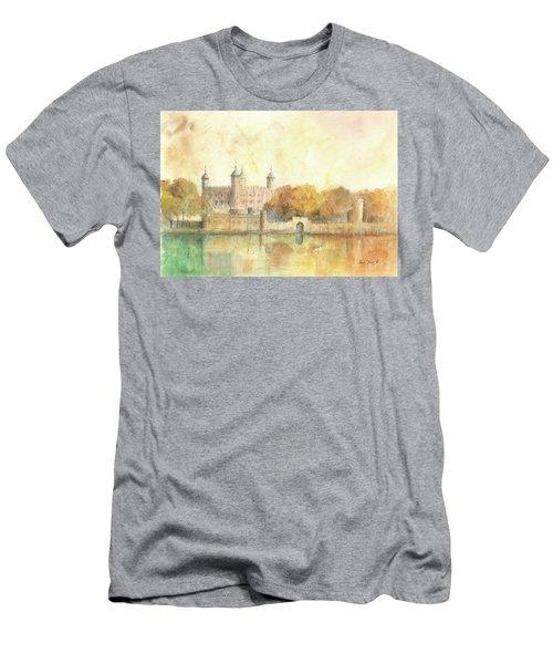 Tower Of London Watercolor Men's T-Shirt (Slim Fit) by Juan Bosco