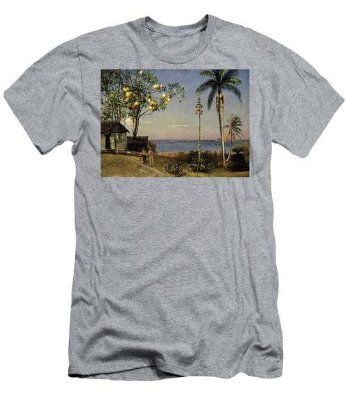 Tropical Scene Men's T-Shirt (Slim Fit) by Albert Bierstadt