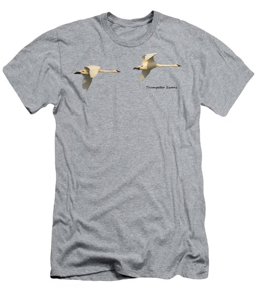 Trumpeter Swans In Flight Men's T-Shirt (Slim Fit) by Whispering Peaks Photography