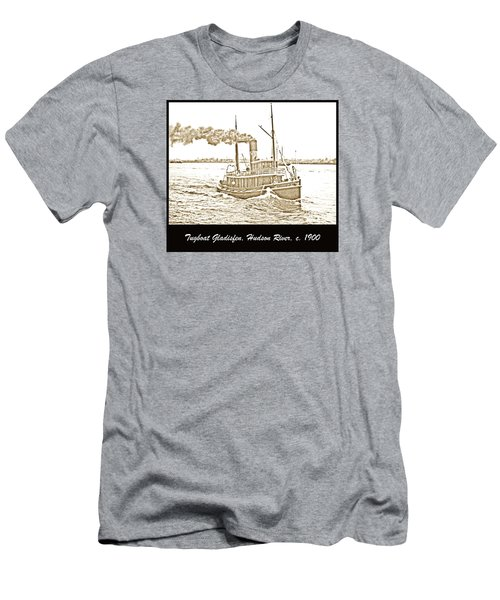 Men's T-Shirt (Slim Fit) featuring the photograph Tugboat Gladisfen Hudson River C 1900 Vintage Photograph by A Gurmankin