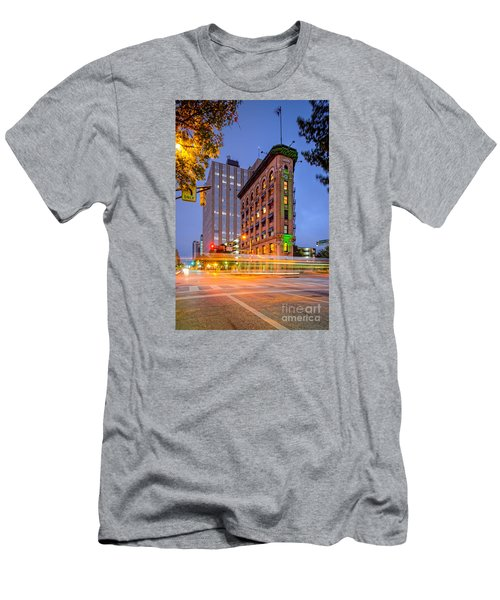 Twilight Photograph Of The Flatiron Building In Downtown Fort Worth - Texas Men's T-Shirt (Slim Fit) by Silvio Ligutti