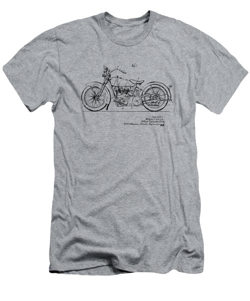 Vintage Harley-davidson Motorcycle 1928 Patent Artwork Men's T-Shirt (Slim Fit) by Nikki Smith