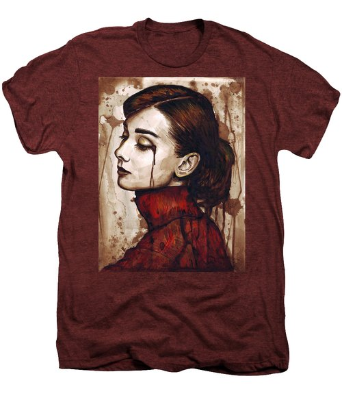 Audrey Hepburn - Quiet Sadness Men's Premium T-Shirt by Olga Shvartsur