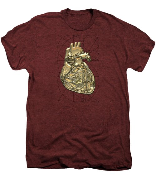 Heart Of Gold - Golden Human Heart On Red Canvas Men's Premium T-Shirt by Serge Averbukh