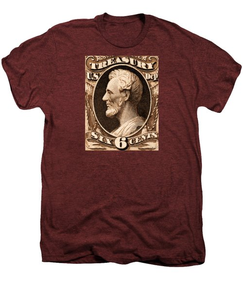 1875 Abraham Lincoln Treasury Department Stamp Men's Premium T-Shirt by Historic Image