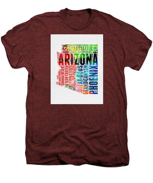Arizona Watercolor Word Cloud Map  Men's Premium T-Shirt by Naxart Studio