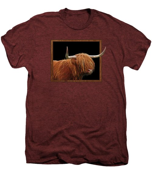 Bad Hair Day - Highland Cow Square Men's Premium T-Shirt by Gill Billington