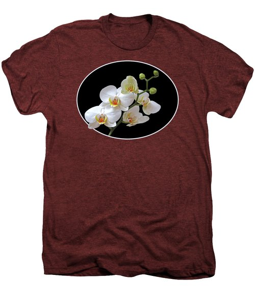 Orchids On Black And Red Men's Premium T-Shirt by Gill Billington