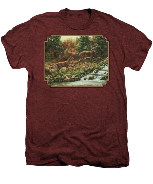 Whitetail Deer - Follow Me Men's Premium T-Shirt by Crista Forest