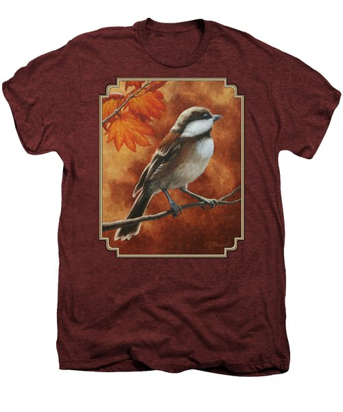 Autumn Chickadee Men's Premium T-Shirt by Crista Forest