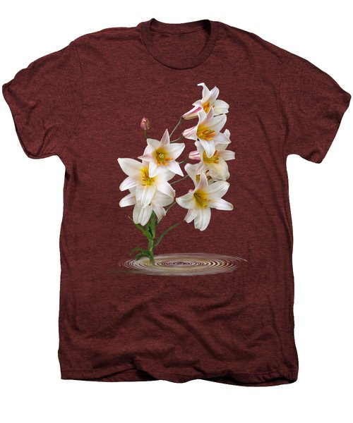 Cascade Of Lilies On Black Men's Premium T-Shirt by Gill Billington