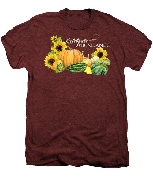 Celebrate Abundance - Harvest Fall Pumpkins Squash N Sunflowers Men's Premium T-Shirt by Audrey Jeanne Roberts