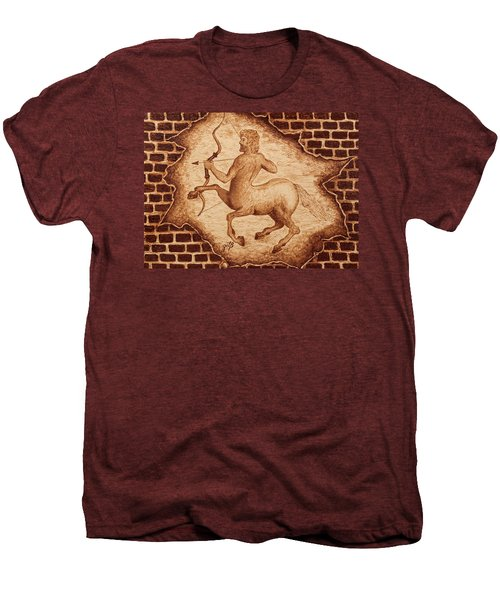 Centaur Hunting Original Coffee Painting Men's Premium T-Shirt by Georgeta Blanaru