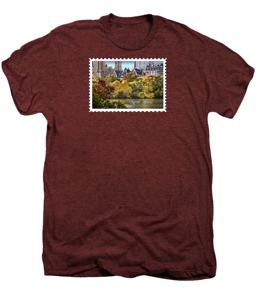 Central Park Lake In Fall Text New York Men's Premium T-Shirt by Elaine Plesser