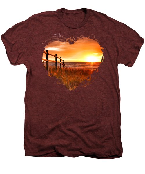Door County Europe Bay Fence Sunrise Men's Premium T-Shirt by Christopher Arndt