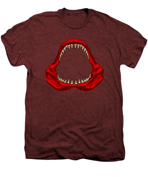 Great White Shark - Red Jaws With Gold Teeth On Red Canvas Men's Premium T-Shirt by Serge Averbukh