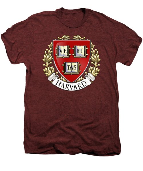 Harvard University Seal - Coat Of Arms Over Colours Men's Premium T-Shirt by Serge Averbukh