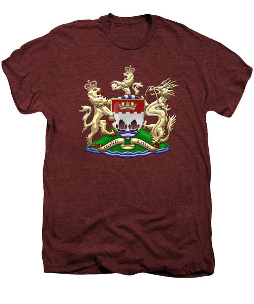 Hong Kong - 1959-1997 Coat Of Arms Over Red Leather  Men's Premium T-Shirt by Serge Averbukh