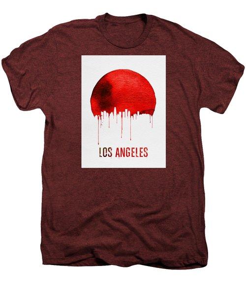 Los Angeles Skyline Red Men's Premium T-Shirt by Naxart Studio