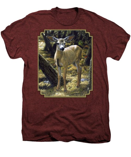 Mule Deer Fawn - Monarch Moment Men's Premium T-Shirt by Crista Forest