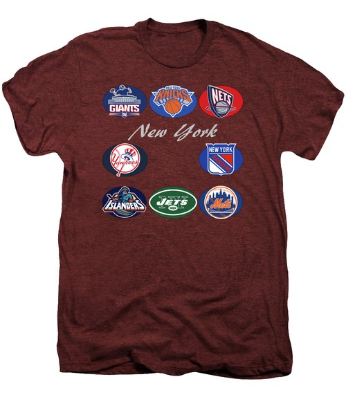 New York Professional Sport Teams Collage  Men's Premium T-Shirt by Movie Poster Prints