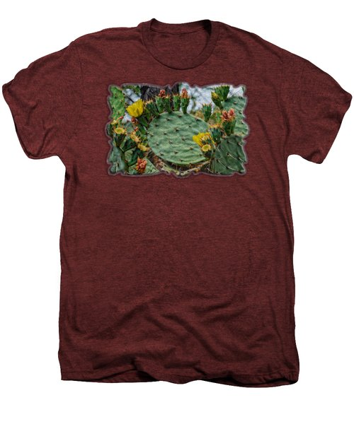 Prickly Pear Flowers Op46 Men's Premium T-Shirt by Mark Myhaver
