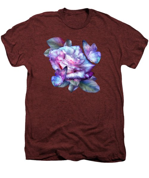 Purple Rose And Butterflies Men's Premium T-Shirt by Carol Cavalaris