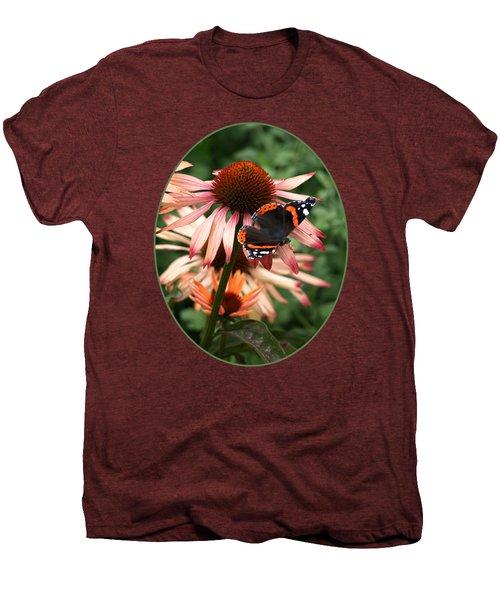 Red Admiral On Coneflower Men's Premium T-Shirt by Gill Billington