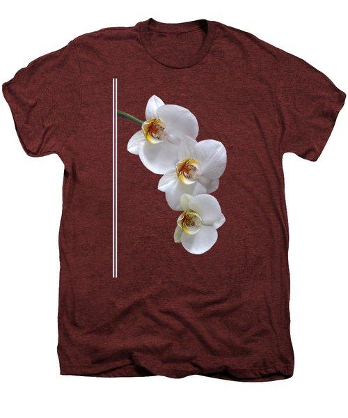 White Orchids On Terracotta Vdertical Men's Premium T-Shirt by Gill Billington
