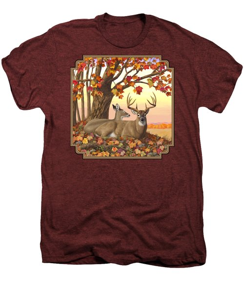 Whitetail Deer - Hilltop Retreat Men's Premium T-Shirt by Crista Forest
