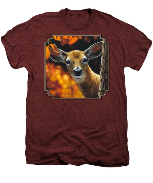 Whitetail Deer - Surprise Men's Premium T-Shirt by Crista Forest