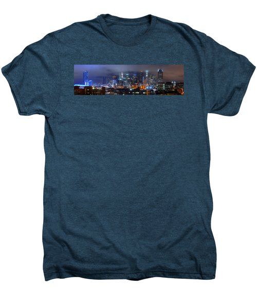 Gotham City - Los Angeles Skyline Downtown At Night Men's Premium T-Shirt by Jon Holiday