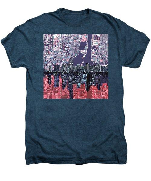 Miami Skyline Abstract Men's Premium T-Shirt by Bekim Art
