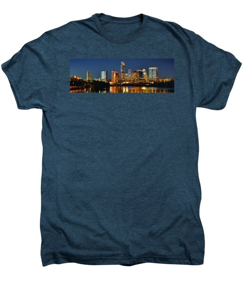 Austin Skyline At Night Color Panorama Texas Men's Premium T-Shirt by Jon Holiday