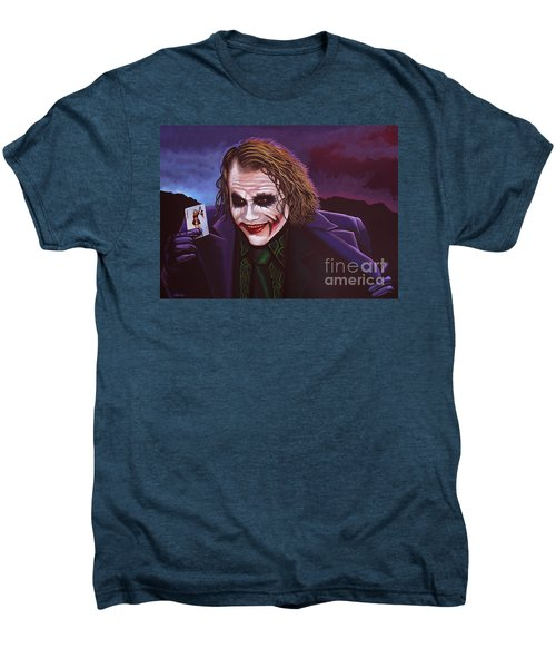 Heath Ledger As The Joker Painting Men's Premium T-Shirt by Paul Meijering