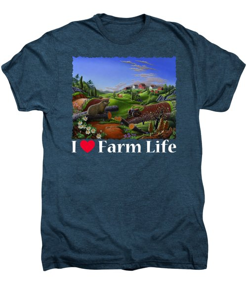 I Love Farm Life T Shirt - Spring Groundhog - Country Farm Landscape 2 Men's Premium T-Shirt by Walt Curlee